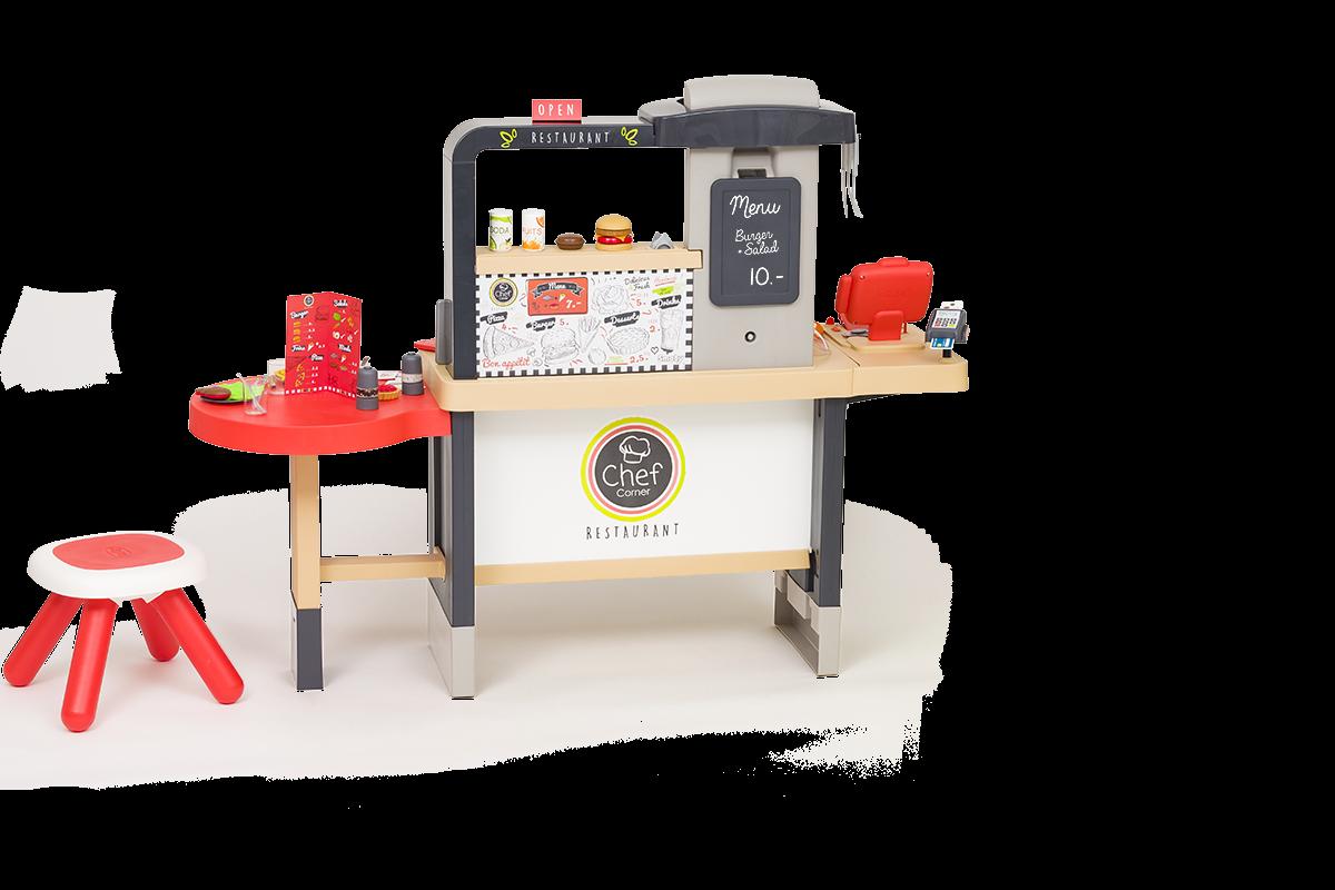Restoran s elektroničkom kuhinjom Chef Corner Restaurant Smoby obostrani i podesive visine s tekućom vodom, specijalitetima i 70 dodataka